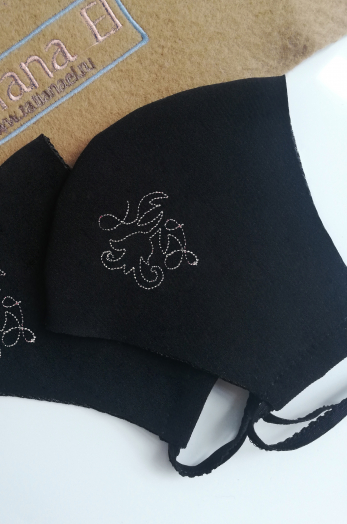 Красивая черная многоразовая маска повязка