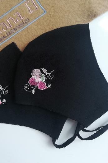 Маска повязка женская с вышивкой