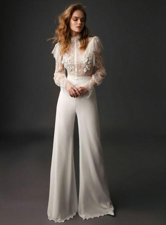 Брючный свадебный костюм для невесты